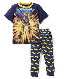 Superfie Robot Print Half Sleeves Nightwear Set - Navy Blue