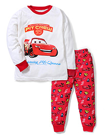 Superfie Car Print Full Sleeves Nightwear Set - White & Red