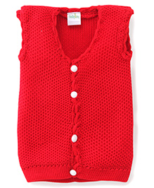 Babyhug Sleeveless Front Open Knitted Sweater - Red