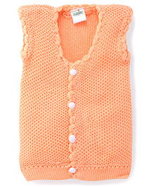 Babyhug Sleeveless Front Open Knitted Sweater - Peach