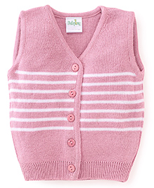 Babyhug Sleeveless Striped Front Open Sweater - Pink