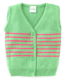Babyhug Sleeveless Striped Front Open Sweater - Green