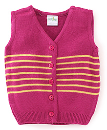 Babyhug Sleeveless Striped Front Open Sweater - Rose Pink