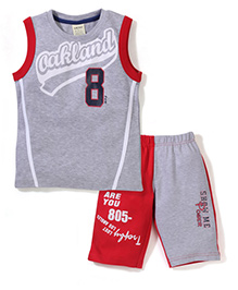 Mickey Sleeveless T-Shirt And Shorts Oakland Print - Red And Grey