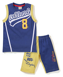 Mickey Sleeveless T-Shirt And Shorts Oakland Print - Blue And Yellow