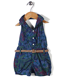 Mickey Sleeveless Jumpsuit With Belt Floral Print - Blue