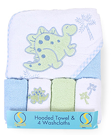 Spasilk Dino Print Hooded Towel With 4 Washcloth - Blue & Green