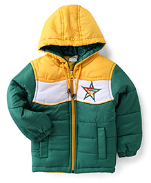 Babyhug Full Sleeves Hooded Jacket Embroidery On Chest - Green & Yellow