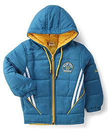 Babyhug Full Sleeves Hooded Jacket Brand Logo Embroidery - Teal Blue
