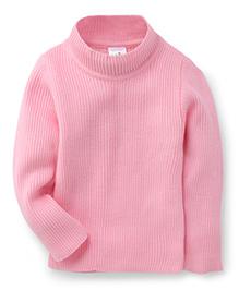 Babyhug Full Sleeves High Neck Sweater - Pink