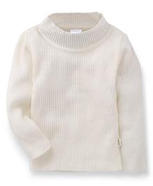 Babyhug Full Sleeves High Neck Sweater - White
