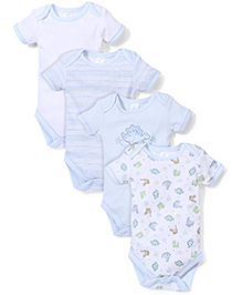 Spasilk Multi Print Pack Of 4 Onesies - White & Blue