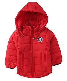 Babyhug Full Sleeves Detachable Hood Jacket - Red