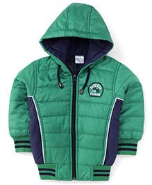 Babyhug Full Sleeves Hooded Jacket - Green And Blue
