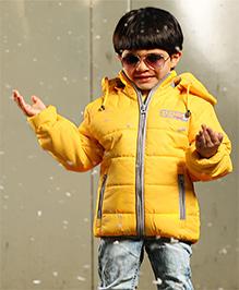 Babyhug Full Sleeves Solid Jacket With Detachable Hood And Contrast Collar Band - Yellow