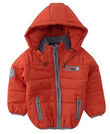 Babyhug Full Sleeves Hooded Jacket - Orange
