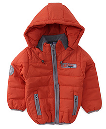 Babyhug Full Sleeves Solid Jacket With Detachable Hood And Contrast Collar Band - Orange