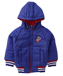 Babyhug Full Sleeves Hooded Jacket Embroidery On The Chest - Blue
