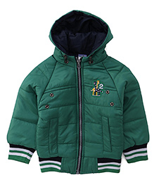 Babyhug Full Sleeves Hooded Jacket Embroidery On The Chest - Green