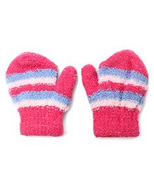 Babyhug Stripe Gloves - Dark Pink