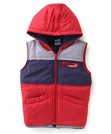 Babyhug Sleeveless Hooded Jacket Badge Detail On Chest - Red & Navy