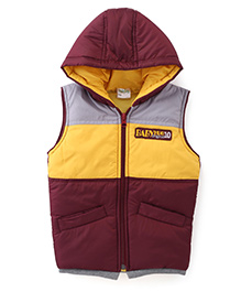 Babyhug Sleeveless Hooded Jacket Badge Detail On Chest - Brown & Yellow