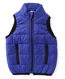 Babyhug Sleeveless Jacket With Contrast Color Border - Royal Blue