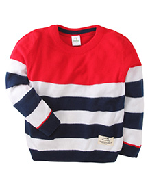 Babyhug Full Sleeves Stripped Sweater - Red Blue White