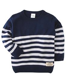 Babyhug Full Sleeves Stripped Sweater - Blue White