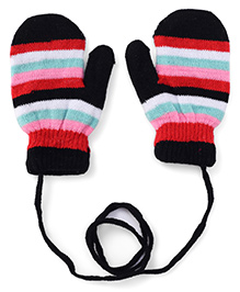 Babyhug Mittens With Horizontal Stripes - Black