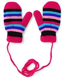 Babyhug Mittens With Horizontal Stripes - Pink
