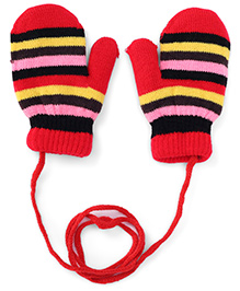 Babyhug Mittens With Horizontal Stripes - Red