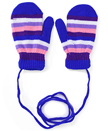 Babyhug Mittens With Horizontal Stripes - Blue