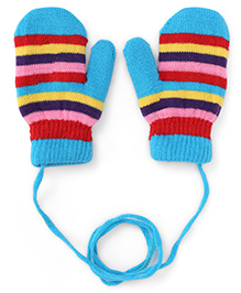 Babyhug Mittens With Horizontal Stripes - Sky Blue