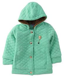 Babyhug Full Sleeves Hooded Jacket - MInt Green