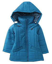 Babyhug Full Sleeves Jacket With Detachable Hood - Blue