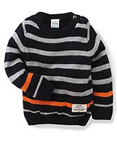 Babyhug Full Sleeves Stripped Sweater - Blue Grey