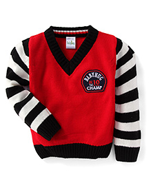 Babyhug Full Sleeves Sweater Champ Print - Red Black