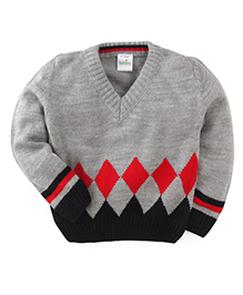 Babyhug Full Sleeves Sweater Diamonds Design - Red Black Grey