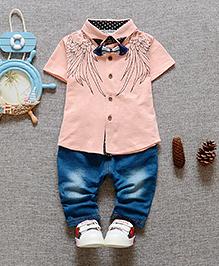 Lil Mantra Shirt & Denim Set - Peach & Blue