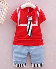 Lil Mantra T-Shirt & Capri Set - Red & Light Blue