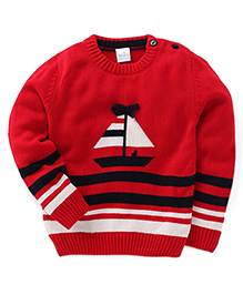 Babyhug Full Sleeves Sweater Boat Design - Red