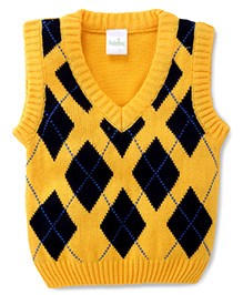 Babyhug Sleeveless Sweater Argyle Pattern - Yellow and Navy