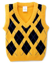 Babyhug Sleeveless Sweater Argyle Pattern - Yellow and Navy