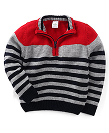 Babyhug Full Sleeves Sweater With Stripes - Red Grey Black