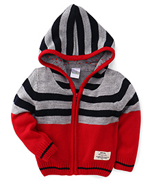 Babyhug Hooded Sweater Stripes Pattern - Red And Grey