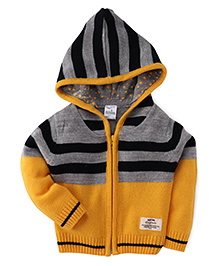 Babyhug Hooded Sweater Stripes Pattern - Yellow And Grey