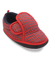 Littles Musical Booties Check Print - Red