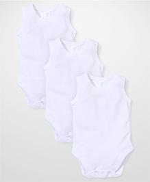 Spasilk Sleeveless Pack of 3 Onesies - White
