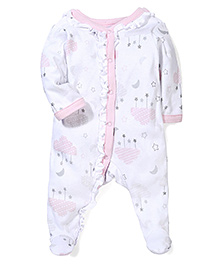 Sterling Baby Moon & Stars Print Romper - White & Pink